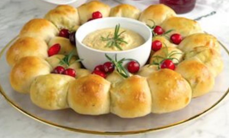 holiday wreath bread