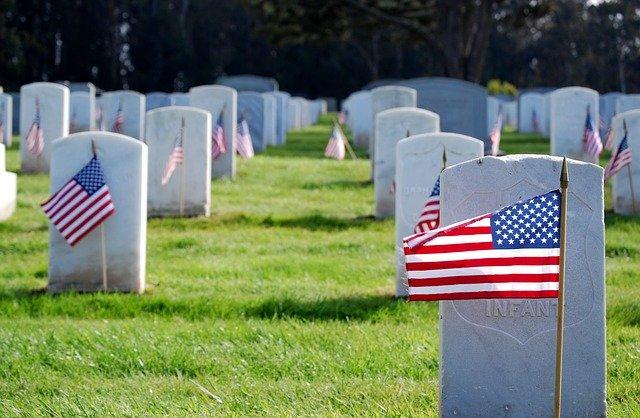 Flag on military graves